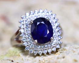 Blue Sapphire Ring 5.25g 925 Sterling Silver Ring ER01