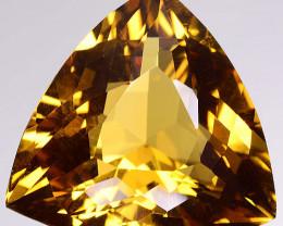 29.31 Cts DAZZLING NATURAL RARE GOLDEN YELLOW CITRINE TRILLION CUT GEM