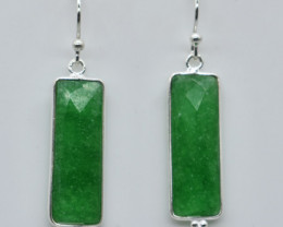 GREEN ONYX EARRINGS 925 STERLING SILVER NATURAL GEMSTONE JE88