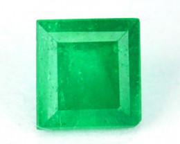 Natural Vivid Green Emerald Square Cut Colombia 0.38 Cts