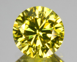 ~VVS2~ 1.09 Cts Natural Sparkling Yellow Diamond 6.4mm Round Cut Africa