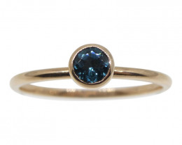 Blue Indicolite Tourmaline Stacker Ring set in 10kt Pink/Rose Gold