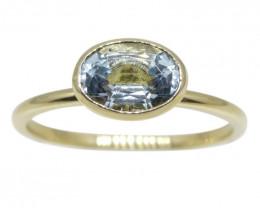 Aquamarine Stacker Ring set in 10kt Yellow Gold