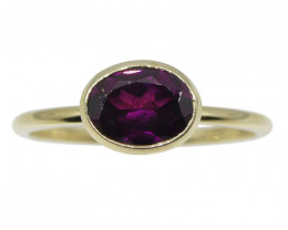 Garnet Stacker Ring set in 10kt Yellow Gold