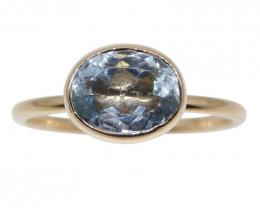 Aquamarine Stacker Ring set in 10kt Pink/Rose Gold