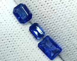 3 PCS LOT 1.83 CTS NATURAL STUNNING BLUE SAPPHIRE FROM SRI LANKA