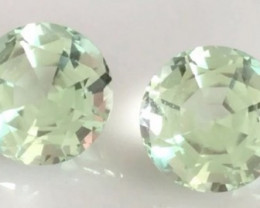 Glowing Pair of 6.8 ct Precision Cut Sweet Mint Green Tourmalines  - 2245