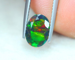 1.08ct Natural Ethiopian Welo Solid Black Smoked Faceted Opal Lot D291
