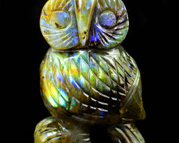 Genuine 1295.00 Cts  Labradorite Amazing Flash Carved Owl