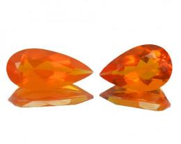 ~FIERY~ 1.55 Cts Natural Mexican Orange Fire Opal 2Pcs Pear Cut