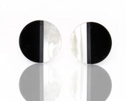 New design! M.O.P and Obsidian, Hematite Intarsia Round Gemstone Earrings B