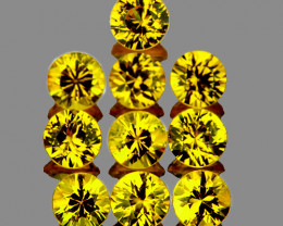 2.70 mm Round 10 pcs 1.02ct Yellow Sapphire [VVS]