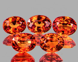 4x3mm Oval 5 pcs 1.31cts Orange Sapphire [VVS]
