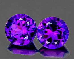 10.00 mm Round 2 pcs 7.61cts Intense Purple Amethyst [VVS]