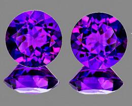 10.00 mm Round 2 pcs 7.52cts Intense Purple Amethyst [VVS]