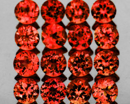 2.00 mm Round 60 pcs 2.63cts Reddish Orange Rhodolite Garnet [VVS]