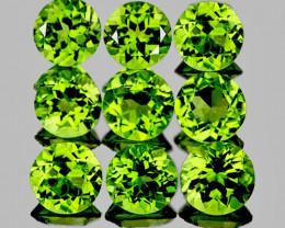 4.50 mm Round 9 pcs 3.80cts Green Peridot [VVS]