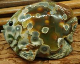 Ocean jasper carved fish decoration (D038)