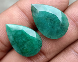 EMERALD PEAR CUT PAIR GENUINE NATURAL GEMSTONE VA5142