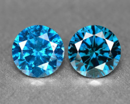 0.92 Cts 2Pcs  Sparkling Rare Fancy Intense Blue Color Natural Loose Diamon