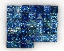 4.06 ct. 2.3-2.5 mm. PRINCESS CUT BLUE SAPPHIRE NATURAL GEMSTONE NORMAL HEA