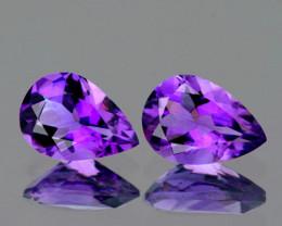 9x6 mm Pear 2 pcs 2.57cts Purple Amethyst [VVS]