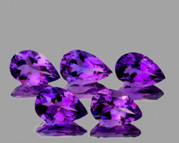 8x5 mm Pear 5 pcs 3.92cts Purple Amethyst [VVS]
