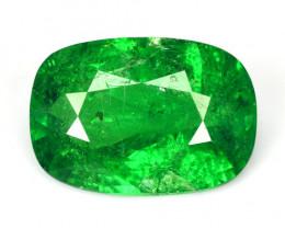 Certified 5.04 Cts Unheated Natural Green Tsavorite Garnet Cushion Kenya (V