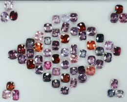 59.85 Cts natural Fancy Spinel 61 Pcs Cushion Cut Brumese