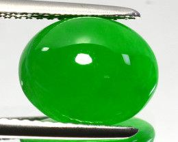 UNTREATED~ 4.02 Cts Natural Brumese Jade AAA Green Oval Cabochon