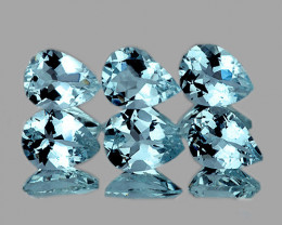 6x4 mm Pear 6pcs 2.38cts Blue Aquamarine [VVS]