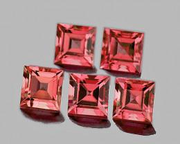 4.00 mm Square 5 pcs 1.72cts Orange Pink Tourmaline [VVS]