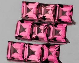 3.00 mm Square 9 pcs 1.30cts Orange Pink Tourmaline [VVS]
