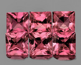 3.50 mm Square Princess 6 pcs 1.37cts Pink Tourmaline [VVS]