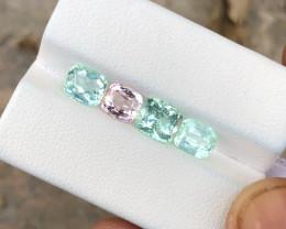 4.60 Ct Natural Sea Foam Color & Pink Transparent Tourmaline Gems Parcels
