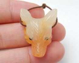 Handmade Agate Carved Wolf Head Pendant Bead H9921