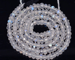 45.85 Cts Natural Blue Moonstone Beads Bihar-India - 34 cm and 4.3x4.1 mm