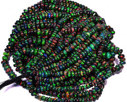 311.08Cts Natural Top Quality AAA Multi Color Play Black Opal Beads 9 Lines