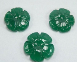 13.52 Cts IMPRESSIVE NATURAL ULTRA RARE GREEN FLOWER CARVING ONYX BRAZIL GE