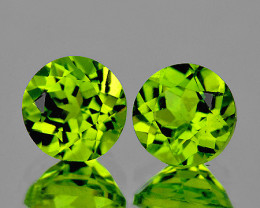 5.50 mm Round 2pcs 1.38cts Green Peridot [VVS}