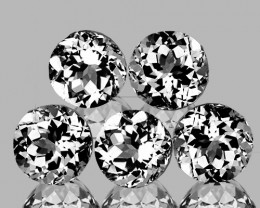 7.00 mm Round 5pcs 7.54cts White Topaz [VVS]