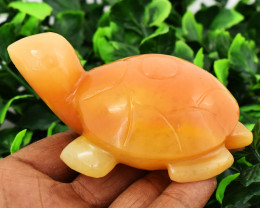 Genuine 740.00 Cts Orange Aventurine Turtle