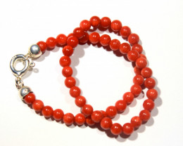Red Coral Bracelet  Cts 14 .35 Rf 798