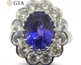 Fine Quality 4.64ct GIA Certified Color Change Sapphire & Diamond Scallop R