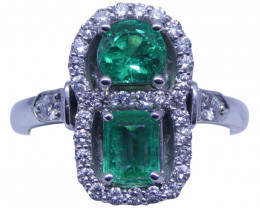 1.05ct Emerald & Diamond Cluster Ring in 18kt White Gold