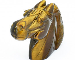 Genuine 1370.00 Cts Golden Tiger Eye Horse Head