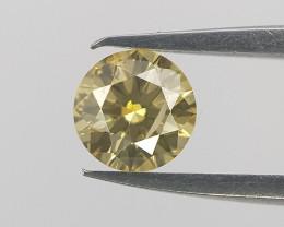 Yellow NATURAL  Diamond , Round Brilliant Diamond , 0.10 cts