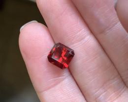 2.74 ectangular cut red garnet