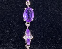 (22) Fantastic Nat 6.78tcw. Top Rich Purple Amethyst Bracelet Untreated