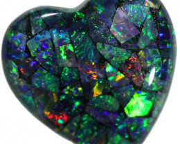 7.60 HEART SHAPED  OPAL MOSAIC .RING OR PENDANT.[SREL2]
